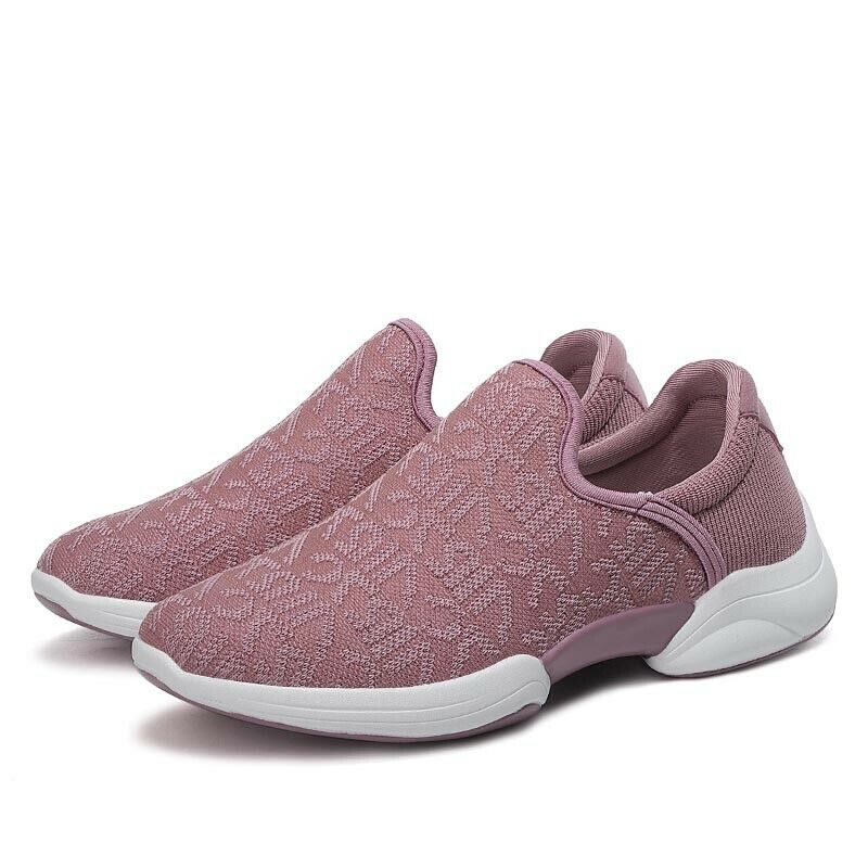 Womens Cosy Pull On Sneakers Sport Shoes Outdoor Casual Plain Trainers Flat Heel