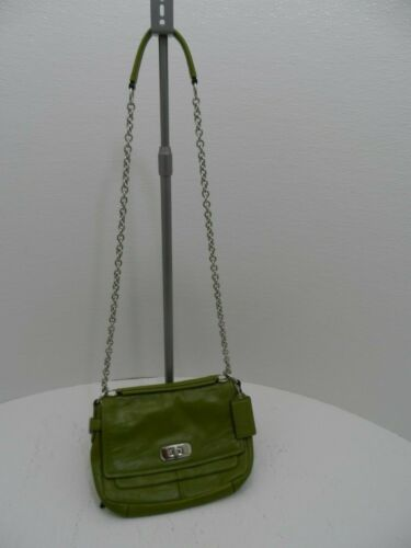 COACH Lime Green Satchel Bag Purse with Silver Cha