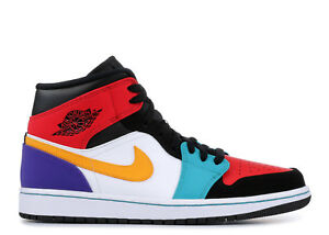 d9afc9ff152 Nike Air Jordan Retro I 1 Mid Multi-Color Bred Multicolor 554724-125 ...