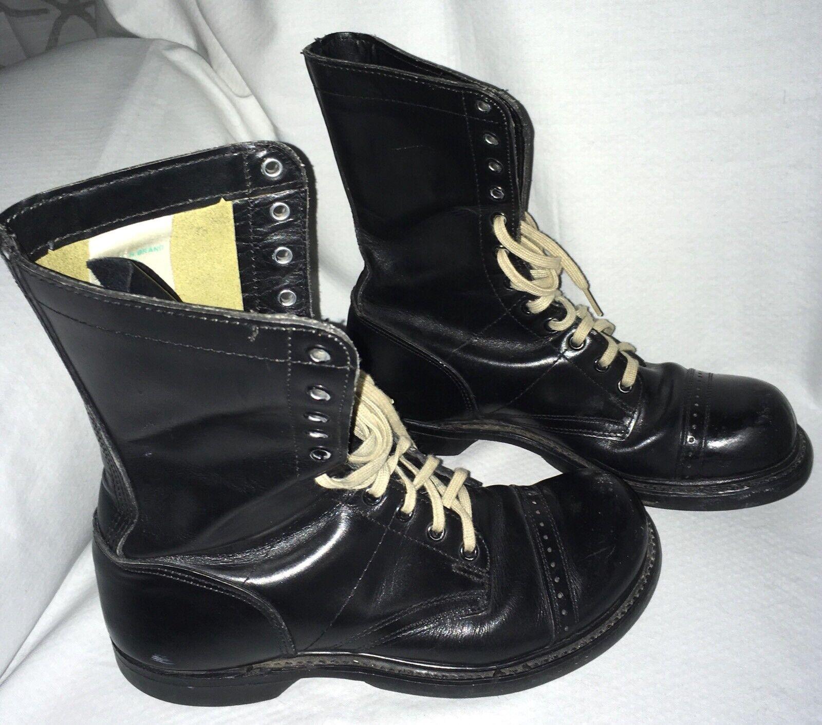Vintage DOUBLE H Men's Black Leather Jump Boots 7 1 2 D Army Paratrooper Style