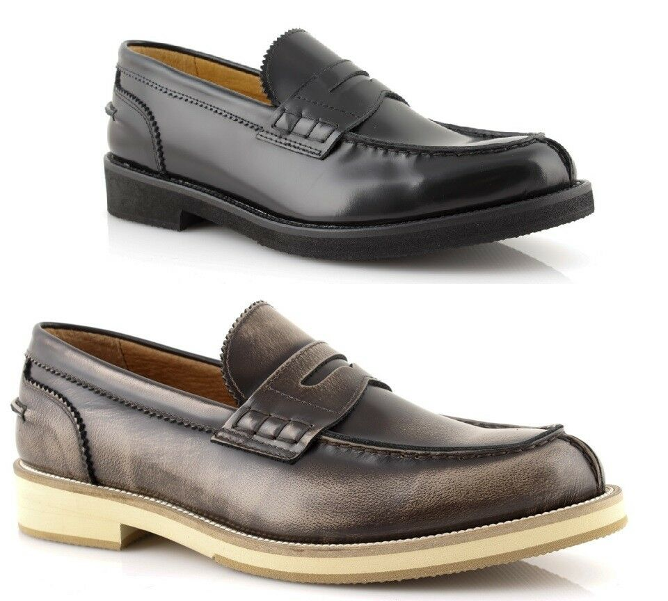 Schuhe mokassins college herren elegant klassische sport leder schwarz