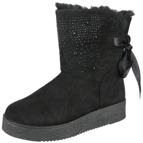 Ladies Winter Flat Boots Womens Diamante New Faux Fur Lined Lace Warm Snow Shoes