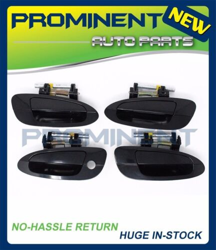 Set of 4 Outside Door Handle Smooth Black For 2002-2006 Nissan Altima DS314
