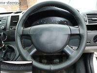 FITS FORD TRANSIT MK5 95-00 REAL BLACK ITALIAN LEATHER STEERING WHEEL COVER NEW
