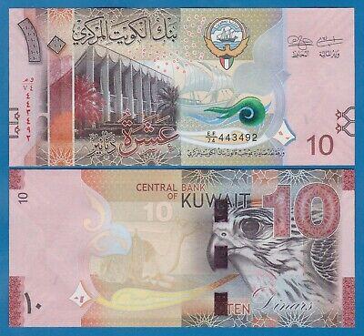 KUWAIT 10 DINARS 2014 P 33 FALCON UNC