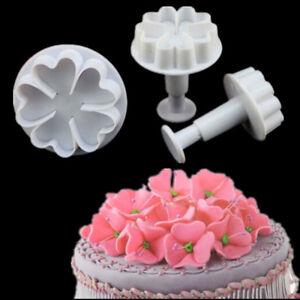 3pcs Heart Flower Icing Fondant Cake Decorating Cutter Plunge