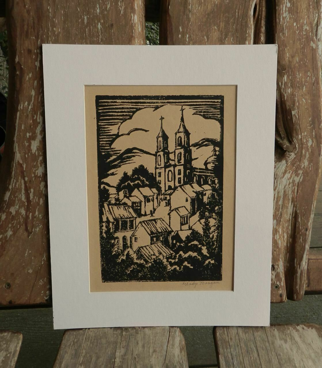 Vintage Gladys Morgan Louisiana Artist Woodblock Print on eBay thumbnail