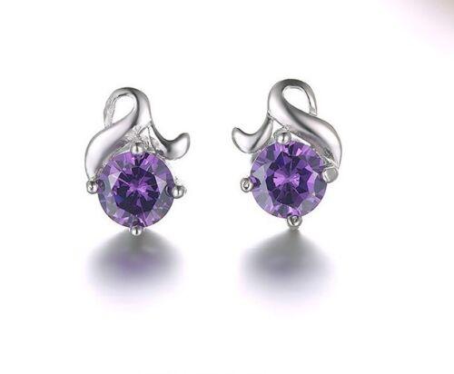 Fashion sterling Silver Flower Cubic Zirconia CZ Ear Stud Earrings Gift Box I27