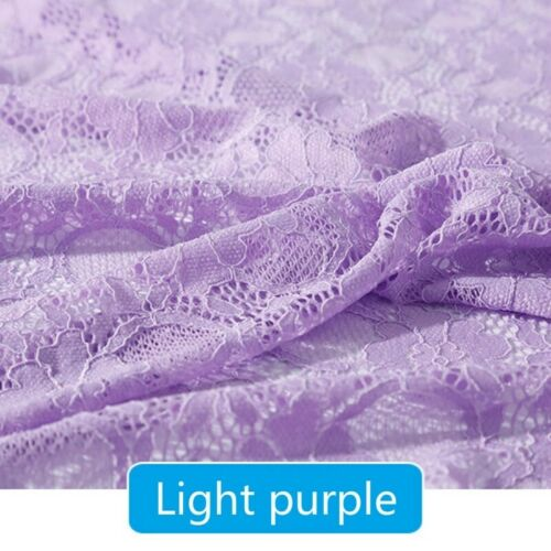 Elastic Floral Lace Fabric Hollow Out Wedding Dress Clothes Elegant Trims Sewing
