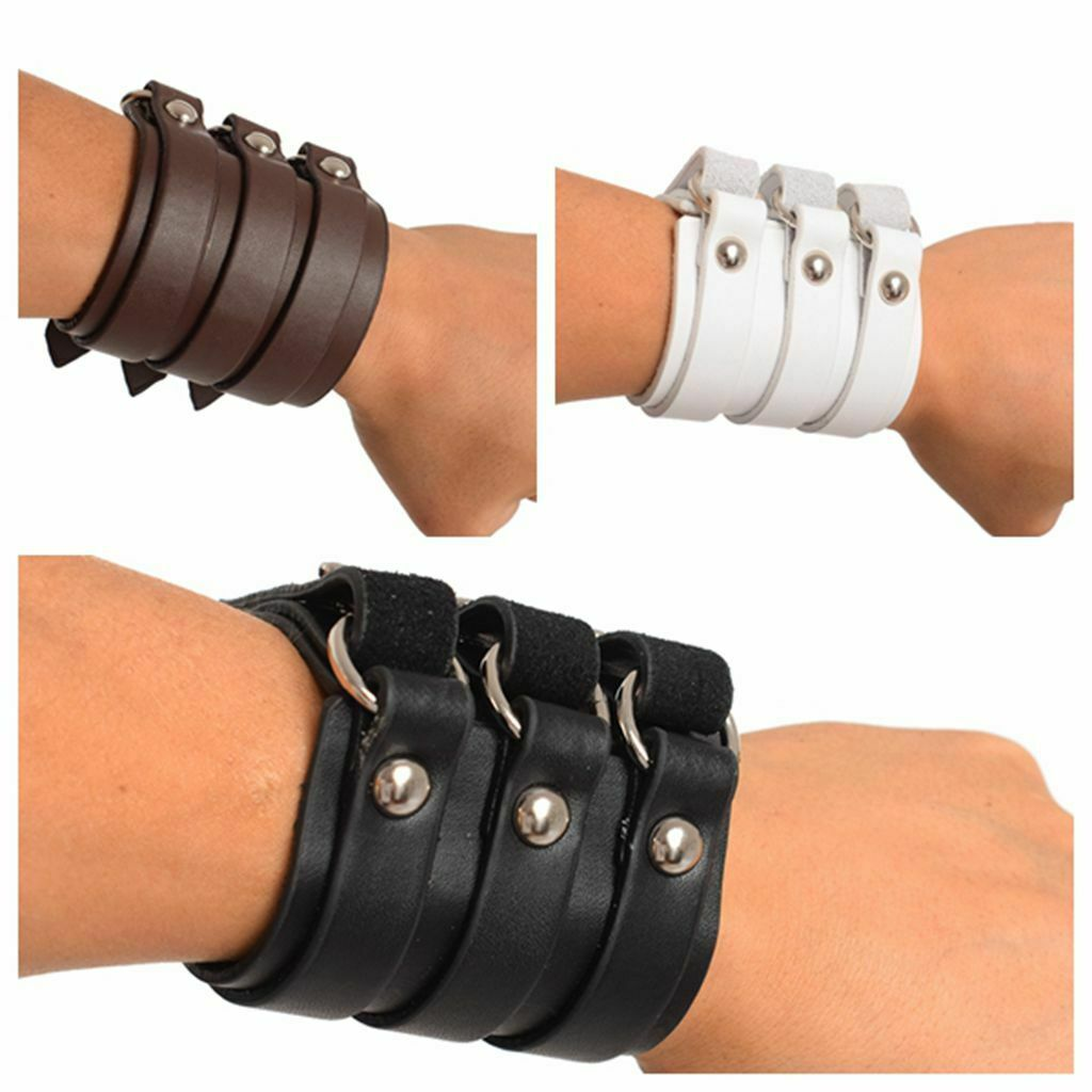 Men LARP Cosplay Medieval Armor Genuine leather Bracers Wristband Accessory