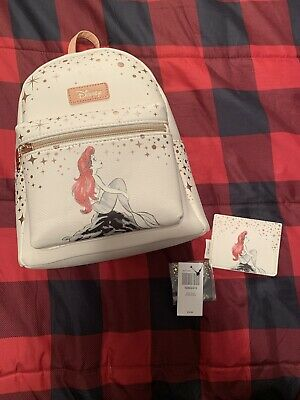 Loungefly Disney The Little Mermaid Ariel on Rock Mini Rose Gold Backpack Bag