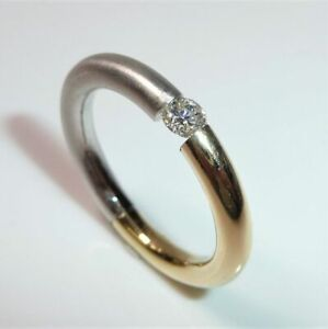 585 -white Gold Clamp Ring - 0.25 CT Diamond Size: 56-57 - Weight: 6.5 G