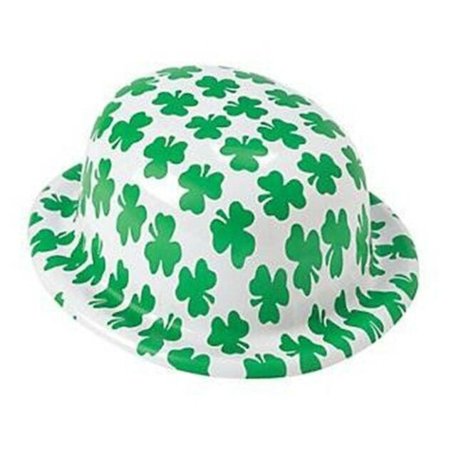 SHAMROCK PRINT PLASTIC DERBY HAT ST PATRICKS DAY IRISH PARTY COSTUME ACCESSORY