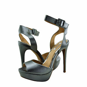 c46e6a193d3f Womens Shoes Qupid Avalon 187 Peep Toe Ankle Strap Heel Pewter Satin ...