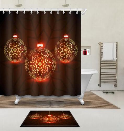 "60//72//79/""Xmas Snow Light Waterproof Polyester Decor Shower Curtain /&Mat/&Hooks"