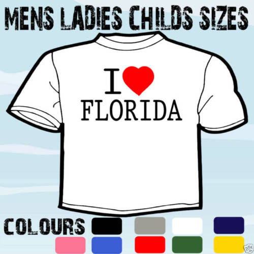 I LOVE HEART FLORIDA USA T-SHIRT ALL SIZES /& COLOURS