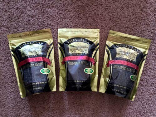 100% PESTICIDE FREE * 3 Bags HUALALAI ESTATE 100% KONA HAWAII COFFEE PEABERRY