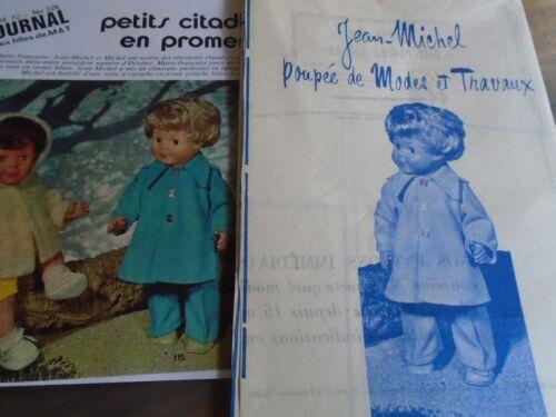 """T1 PATRON POUPEE JEAN MICHEL /"""" MODES ET TRAVAUX   PARDESSUS EN LAINAGE 1972"""