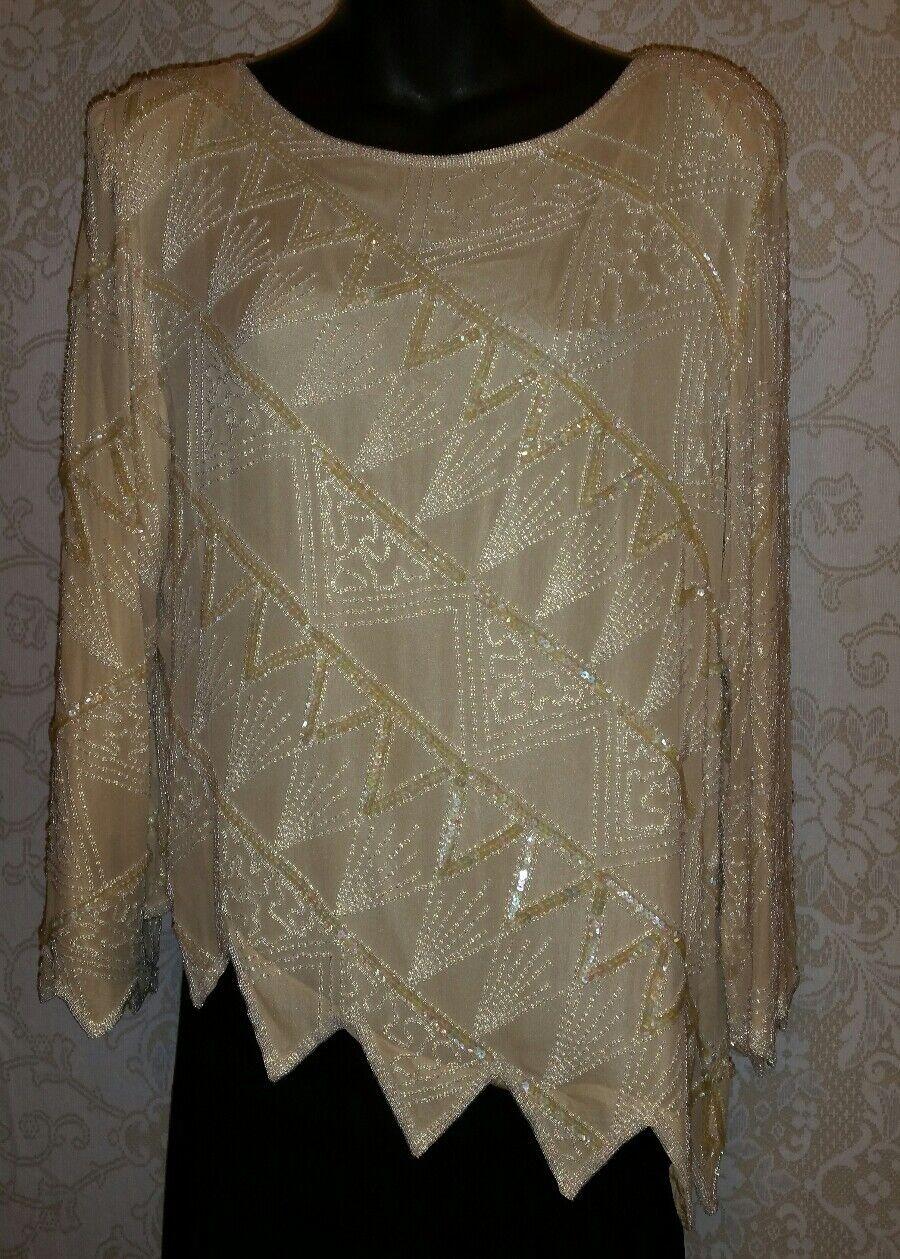 Vintage 80s Oleg Cassin Cream Iridescent Sequins & Beads Top Sz M