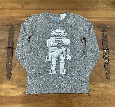 Boy's Crewcuts Metallic Robot Long Sleeve Heather Gray Shirt New Halloween