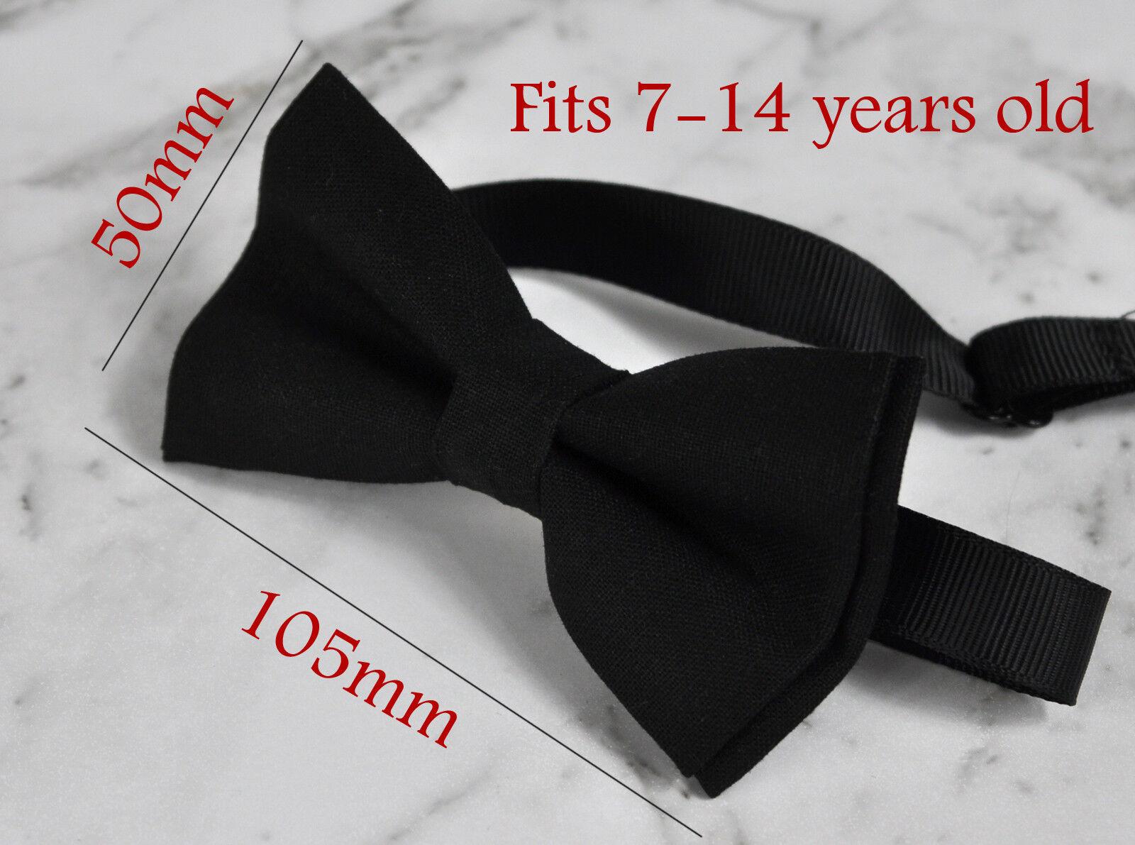 Boy Kids Youth Cream Off-White Ivory Cotton Bow Tie Bowtie Wedding 7-14Years Old