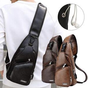 Mens-USB-Charging-Sling-Shoulder-Chest-Bag-Cross-Body-Messenger-Leather-Backpack