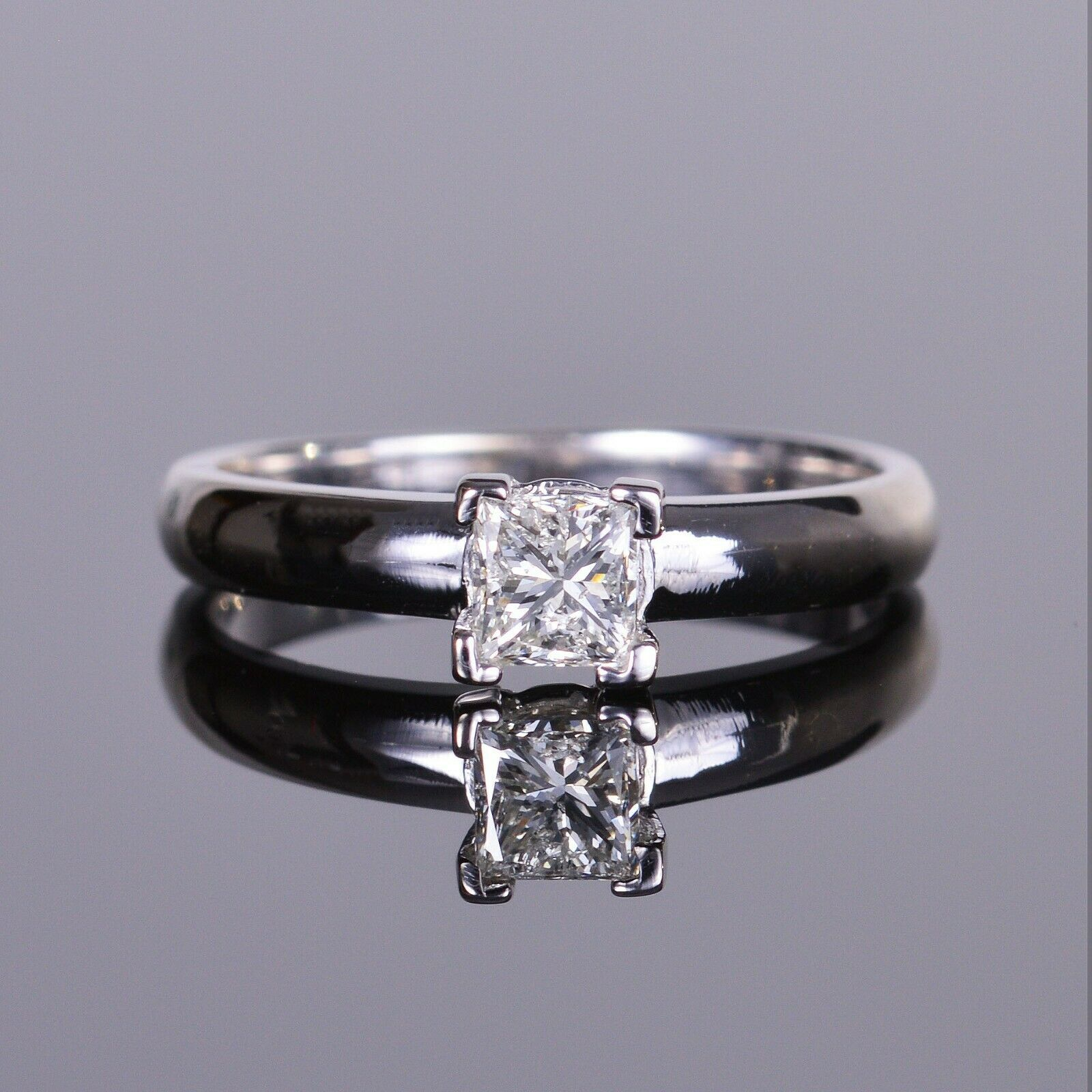 Princess Diamond Solitaire Engagement Ring in 18k WG