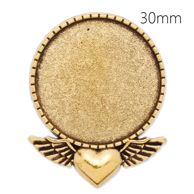 10Pcs 30MM Round Shallow Bezel Brooch Pin Blank Bases Safety Brooch Findings