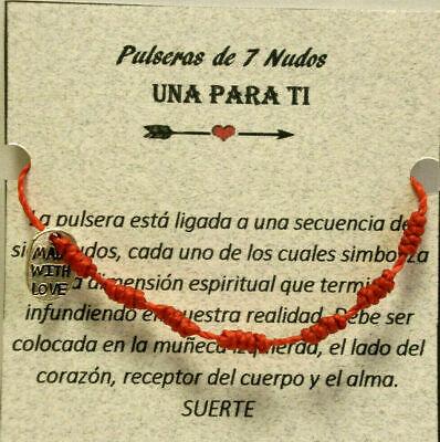 "ENCERADO DE 1MM Oct, Pulsera artesanal amuleto  /"" SUERTE/""   7 nudos rojos"