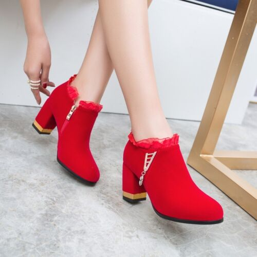 Details about  /Women/'s Lace Ankle Boots Block High Heels Round Toe Bootie Casual Shoes Side Zip