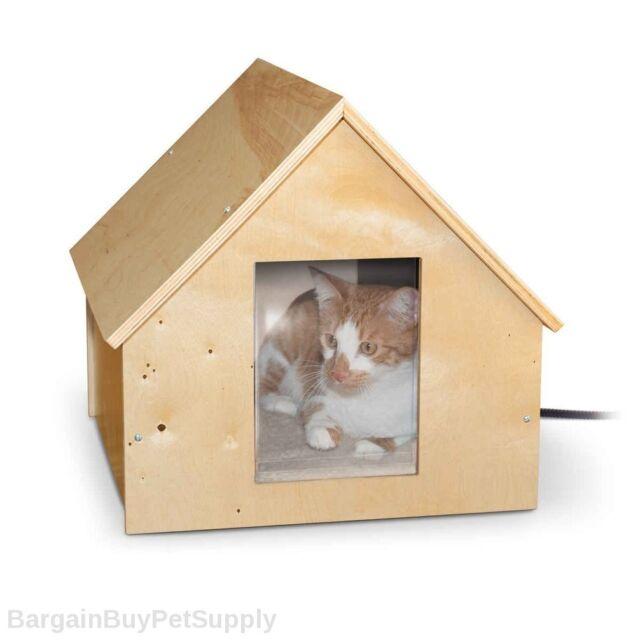 KH Mfg Birchwood Manor Outdoor Thermo Cat Kitty House Birch Wood w/ HEATED Pad