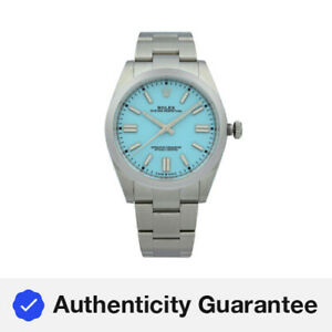 Rolex Oyster Perpetual 41mm Steel Tiffany Blue Dial Automatic Men Watch 124300