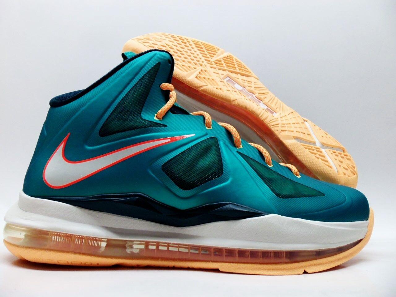 Nike lebron x (gs) basket verde atomica / arancio, sz / donne 8 [543564-302]