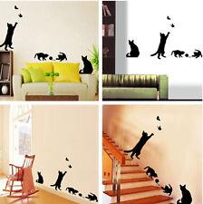 Black Cat Play Living Room Decor Decal Vinyl Mural Art Removable Wall Sticker