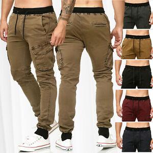 Hommes-Pantalon-de-Cargo-Casual-Pantalon-de-jogging-Chino-Pantalon-de-loisirs