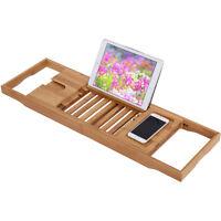 Bathtub Rack Caddy Bamboo Shelf Shower Book Tray Expandable Holder Us Stock