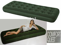 Adult Green Single Comfort Flock Airbed Camping Mattess Inflatable Camp Bed Lilo