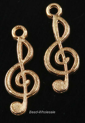 Lots 10pcs Tibetan Silver Music Notation Charms Pendant Findings 26x10mm