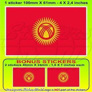 KYRGYZSTAN-Flag-KYRGYZ-REPUBLIC-Vinyl-Bumper-Decal-Sticker-4-034-100mm-x1-2-BONUS