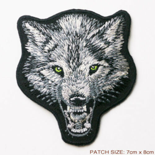 Wolf pack Black Border Patch Badge Iron Or Sew On 7cm x 8cm