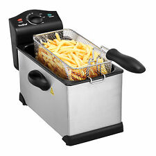 VonShef Deep Fat Fryer 3 Litre Chip Pan Basket Fry Stainless Steel 2000W Pro