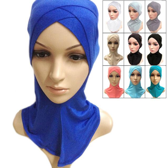Muslim Cotton Full Cover Inner Hijab Cap Islamic Head Wear Hat Underscarf Colors