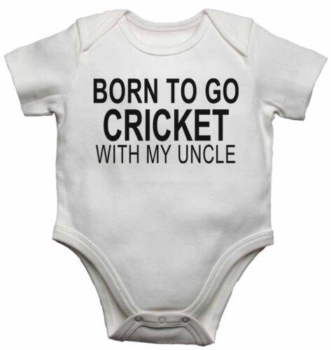 Filles Cadeau Born to Go Cricket avec mon oncle-nouveau bébé Gilets Révélateurs Pour Garçons