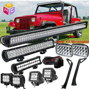 52inch Straight LED Light Bar Mounting Brackets Fit 1987-1995 Jeep Wrangler YJ