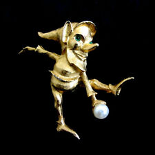 Vintage Boucher Gold Tone Elf with Snowball Brooch Pin