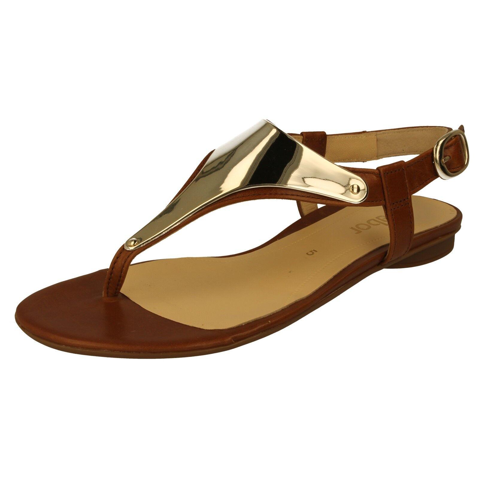 Onorevoli GABOR 25.532.24 Toe Post Sandali Con Cinturino e alla Caviglia Colore Marrone e Cinturino Oro 84da63