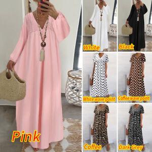 UK-Women-Lace-V-Neck-Short-Sleeve-Ladies-Holiday-Maxi-Kaftan-Dress-Plus-Lot-Size