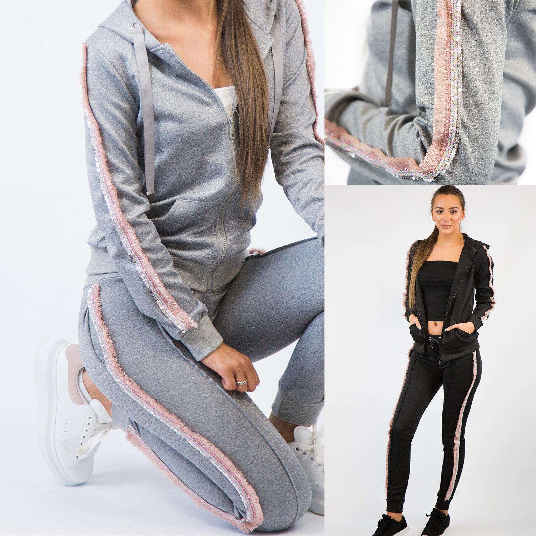 Tute DA DONNA GRIGIO rosa VOLANT Abbigliamento Sportswear Serie (Nero Grigio)