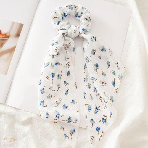 Womens Streamers Scrunchies Dot Floral Print Elastic Bow Hair Rope Ponytail Ties
