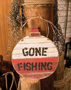 Gone Fishing Rustic Bobber Wood Plank Lodge Log Cabin Home Decor Wood Sign Ebay